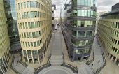 MOSCOW, RUSSIA - NOV 02, 2013: (view from unmanned quadrocopter) White Square Office Center. White S