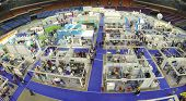 MOSCOW, RUSSIA - NOV 14, 2013: (view from unmanned quadrocopter) 15th International Exhibition ExpoC