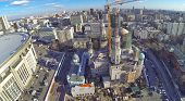 MOSCOW, RUSSIA - OCT 30, 2013: (view from unmanned quadrocopter) Construction of Moscow Cathedral Mo