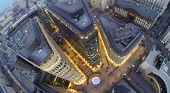 MOSCOW, RUSSIA - NOV 02, 2013: (view from unmanned quadrocopter) Above view of Modern White Square O