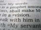 image of bible verses  - Close up of a bible verse with the word vision in focus.