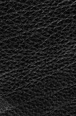Natural Qualitative Black Leather Texture. Close Up.