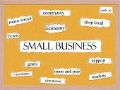 stock photo of pegboard  - Small Business Corkboard Word Concept with great terms such as community shop local support and more - JPG