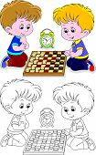 Children play checkers