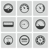 picture of speedometer  - Vector black meter icons set on white background - JPG