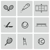 Vector black tennis icons set