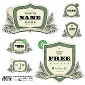 Vector money badges and financial frames with leaf decorations. Great for any design showing money, business, or success.