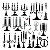 Vector Silhouettes Of Candlesticks And Candles