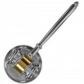 A silver metal judge gavel with gold stripe and soundboard isolated on white background top view
