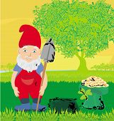 pic of dwarf  - cute dwarf with pot of gold coin  - JPG