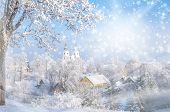 Christmas Card. Cold Winter. Frosted Town In Lithuania. Zemaiciu Kalvarija