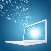 Emails fly out of laptop screen
