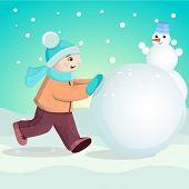 Boy sculpts snowman
