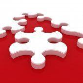 White puzzle on red background. Isolated 3D image
