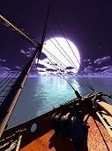 image of brigantine  - .Pirate brigantine out on sea - JPG