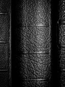 picture of leather-bound  - Blank black leather book bindings or spines - JPG