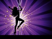 stock photo of pole dance  - Silhouette of a sexy female pole dancing - JPG