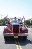 1950 Mack fire truck from Huntington Manor Fire Department at parade in Huntington, New York