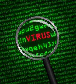 picture of virus scan  - Magnifying glass locating a virus in computer machine code - JPG