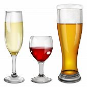 stock photo of tumbler  - Three glass goblets with wine champagne and beer - JPG