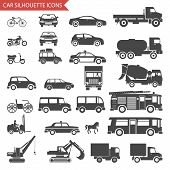 Cars and Vehicles Silhouette Icons Transport Symbols Isolated Set Vector Illustration