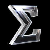 Símbolo Sigma em vidro (3d)