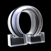 Símbolo de Omega em vidro (3d)