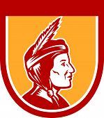 foto of indian chief  - Illustration of a native american indian chief sideview with headdress set inside shield crest on isolated ackground - JPG