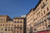 picture of piazza  - The houses surrounding the famous Piazza del Campo  - JPG