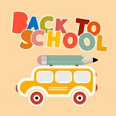 Back to School Colorful Title with Yellow Bus - Retro Paper Vector Illustration