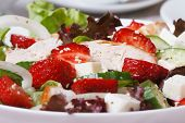 Salad Of Strawberries, Feta Cheese, Vegetables And Chicken