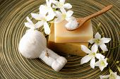 stock photo of gardenia  - White gardenia flower and massage ball with soap  - JPG