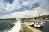 ANDROS, GREECE - APR 28, 2014: Marina of Andros, is the northernmost island of the Greek Cyclades ar