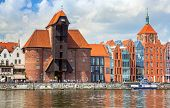 GDANSK, POLAND - 20 MAY: The medieval port crane over Motlawa river on 20 May 2014. This port crane