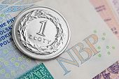 pic of zloty  - Polish coins stacked on a banknote. Polish Zloty -new banknotes.