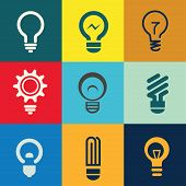 picture of low-light  - light bulb isolated vector icons - JPG