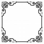 image of scrollwork  - Elegant pen and ink black and white scrollwork border frame in a vintage victorian style several colors and styles available in gallery - JPG