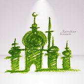 pic of hari raya  - Vector Crayon Muslim Mosque - JPG