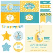 Baby Shower Sleeping Bear Theme  - for Party, Scrapbook or Design Elements - in vector