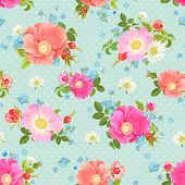 image of forget me not  - Seamless vector pattern with flowers and rose hips - JPG