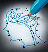 stock photo of dots  - Intelligence therap and brain research challenges as a medical concept with a connect the dots drawing puzzle connected by a blue pencil representing a doctor shaped as a human head and thinking organ - JPG