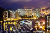 Typhoon shelter in Hong Kong during sunset