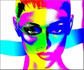 Colorful pop art image of a woman's face on a white background.