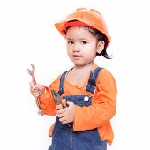 Asian Engineer Baby With Tools In Hand