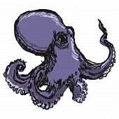 stock photo of devilfish  - hand drawn sketch cartoon illustration of octopus - JPG