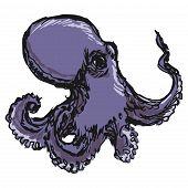 foto of devilfish  - hand drawn sketch cartoon illustration of octopus - JPG