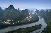 Karst mountain landscape on the Li River in Xingping, Guangxi Province, China.
