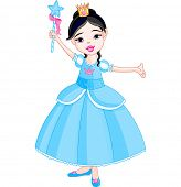 Beautiful little princess in blue dress with magic wand. Raster version.