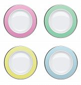 Colorful Plate With silver Rims On White Background. Vector Illustration