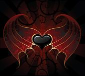 image of membrane  - gothic black heart of a vampire with skin membranous wings the dark luminous background - JPG